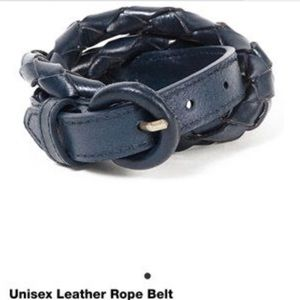 American apparel leather unisex belt navy